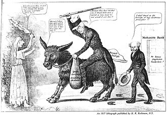 The modern balaam and his ass, an 1837 caricature placing the blame for the Panic of 1837 and the perilous state of the banking system on outgoing President Andrew Jackson, shown riding a donkey, while President Martin Van Buren comments approvingly Jackson and Van Buren, 1837.jpg