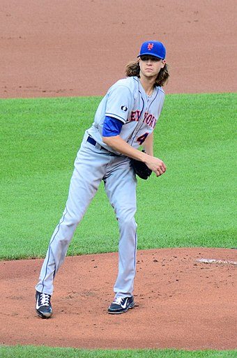 Jacob deGrom, the 2014 Rookie of the Year and 2018 and 2019 Cy Young Award Winner. Jacob deGrom.jpg