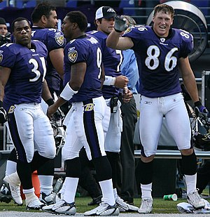 History of the Baltimore Ravens - Ravens RB Jamal Lewis (31), DT Haloti Ngata (92), QBs Kyle Boller (7) and Steve McNair (9), and TE Todd Heap with the Ravens in 2006.