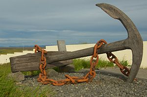 The anchor of the ship Jamestown, wrecked off Hafnir, Iceland in 1881.