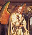 Jan van Eyck - The Ghent Altarpiece - Angel of the Annunciation (detail) - WGA07669.jpg