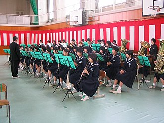 School band - Junior High School Students band at Demachi Jr. High, Tonami City, Toyama, Japan