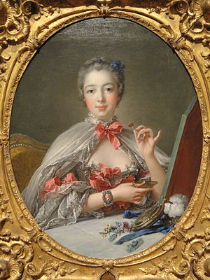 Jacques Guay - Madame de Pompadour at Her Toilette by Boucher (1758). She is wearing Guay's cameo of Louis XV on her wrist.