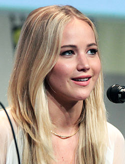 Jennifer Lawrence speaking at the 2015 San Diego Comic Con International.