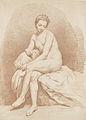 Jeune fille nue, assise sur un lit, vue de face, regardant à terre.jpg