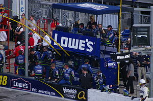 Lowe's - The Lowe's-sponsored team of Jimmie Johnson's pit box