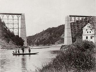 Czech rail records - Viaduct Červená nad Vltavou under construction (1889)