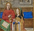 Joanna of Castile praying, accompanied by John the Evangelist, Hours of Joanna of Castile, Bruges, between 1496 and 1506, Additional 18852, f. 288 detail.jpg