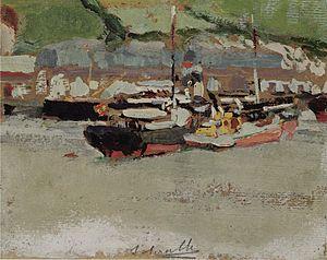 Joaquin Sorolla y Bastida - Barcos en un puerto.jpg
