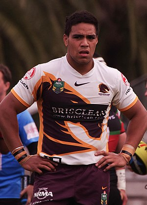 Joe Ofahengaue - Ofahengaue playing for the Broncos in 2014.