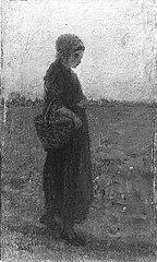 Meisje met mand op het veld