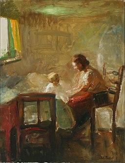 Julius paulsen mother and child in the bedroom