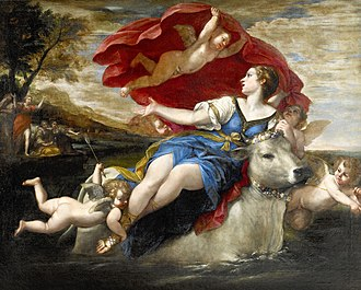 Leuchtenberg Gallery - Image: Jupiter in the shape of a bull carrying off Europa by Francesco Albani