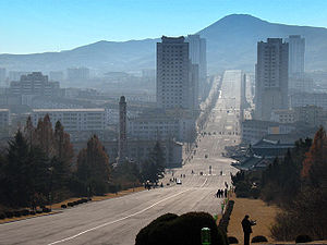 Kaesong - A view towards the modern center of Kaesong, as seen towards the south from near the top of Mount Janam.