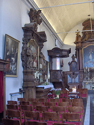Side altar - A bye-altar in the Kapucijnenkerk; Ostend, Belgium. Notice the high altar in the background.
