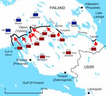 Un diagrama del istmo de Carelia durante el último día de la guerra ilustra las posiciones finales y las ofensivas de las tropas soviéticas, ahora enormemente reforzadas.  Ahora han penetrado aproximadamente 75 kilómetros de profundidad en Finlandia y están a punto de liberarse de las limitaciones del istmo.