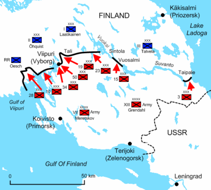 A diagram of the Karelian Isthmus during the last day of the war illustrates the final positions and offensives of the Soviet troops, now vastly reinforced. They have now penetrated approximately 75 kilometres deep into Finland and are about to break free from the constraints of the Isthmus.