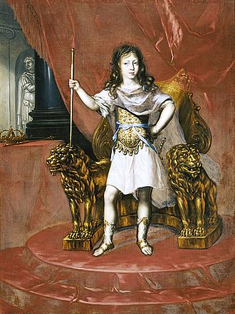 Charles XI of Sweden - Charles at the age of five, dressed as a Roman emperor. Painting by Ehrenstrahl