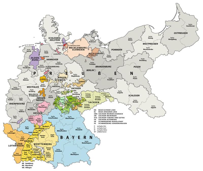Karte Deutsches Reich, Gliederung der oberen Verwaltungsebenen 1900-01-01.png