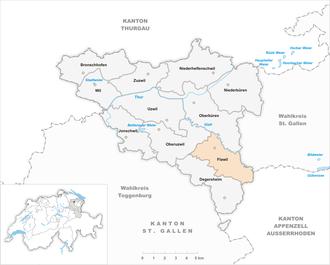 Flawil - Image: Karte Gemeinde Flawil 2007