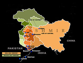 English: A map of the Kashmir region depicting...
