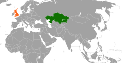 Map indicating locations of Kazakhstan and United Kingdom