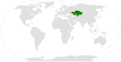 Map indicating locations of Kazakhstan and Uzbekistan