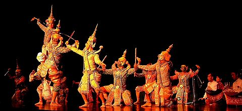 The Thai retelling of the tale--Ramakien--is popularly expressed in traditional regional dance theatre Khon Dance Frankfurt Germany 2006.jpg