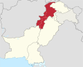 Khyber Pakhtunkhwa in Pakistan (claims hatched).svg