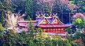 Kibitsu Shrine 吉備津神社 (国宝) 鯉山175m @ 金色の 冬日に映える 比翼かな - panoramio.jpg