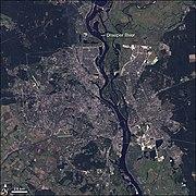 Landsat 7 image of Kiev and the Dnieper River