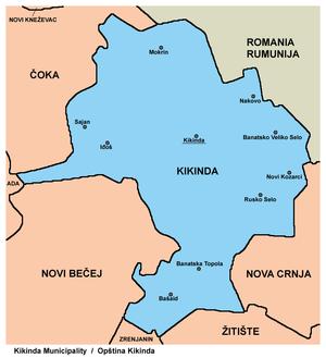 mapa srbije kikinda Opština Kikinda   Wikipedia mapa srbije kikinda