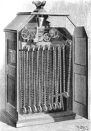 History of film - Interior view of Kinetoscope with peephole viewer at top of cabinet.