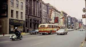 Hamilton Street Railway - A trolley bus on King Street in 1968