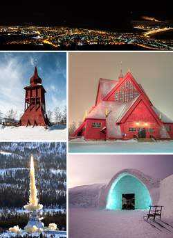 Clockwise from top: Kiruna skyline by night, Kiruna Church, the Icehotel in Jukkasjärvi, rocket launch at Esrange, bell tower at Kiruna Church.