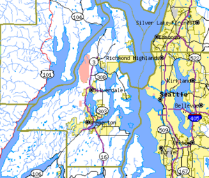Kitsap County, Washington - map of Kitsap County and surrounding area
