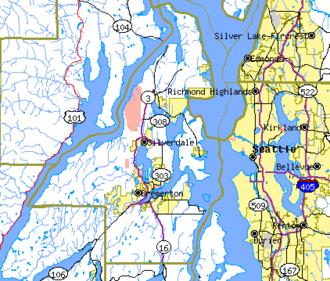 Kitsap County, Washington - map of Kitsap County and surrounding area