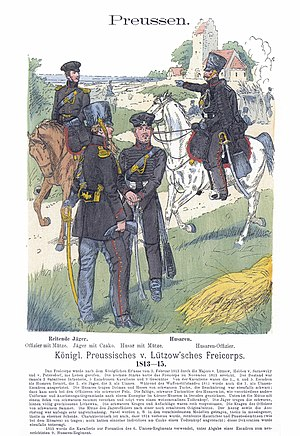 Lützow Free Corps - Free Corps Uniforms: Mounted Jäger and Hussars. Illustration from Uniformenkunde by Richard Knötel