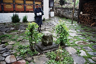 Pema Lingpa - Courtyard of Könchogsum Lhakhang in Bumthang where Pema Lingpa is said to have placed this stone plug over the subterranean lake below the temple