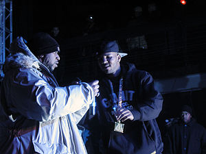 The Game (rapper) - Game (right) with Kool G Rap (left) in New York City, November 2004