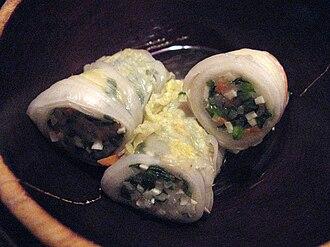 Korean royal court cuisine - Baechuseon, steamed and stuffed bachu (napa cabbage) roll