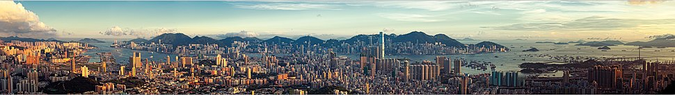 City view of Kowloon, Hong Kong Island, and the Hong Kong skyline