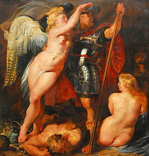 Greatness - Krönung des Tugendhelden (circa 1612-1614) by Peter Paul Rubens