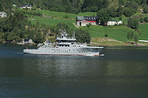 NoCGV Tor, a Nornen-class ship, in inner Førdefjord, July 2008