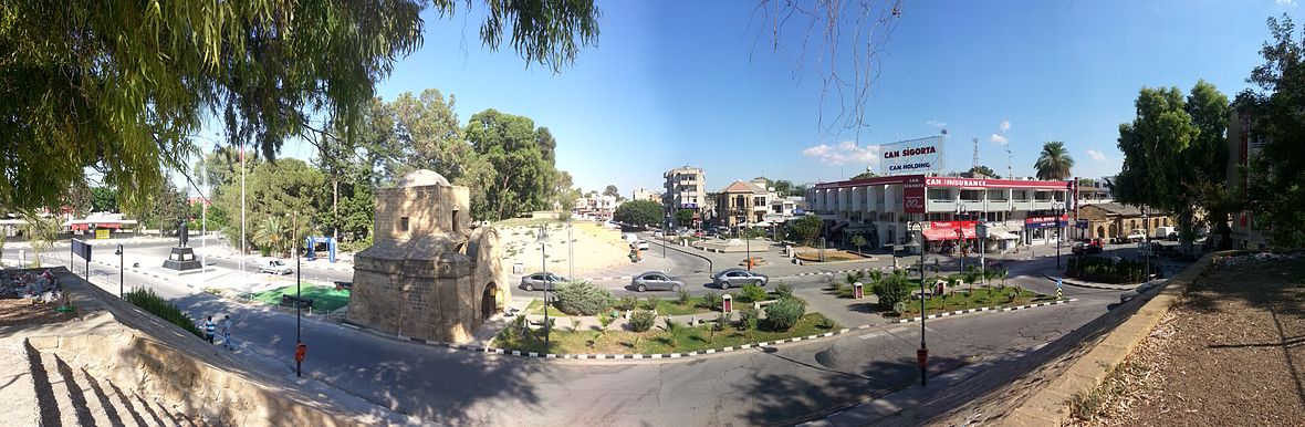 The Kyrenia Gate and the İnönü Square, at the entrance of the walled city
