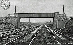 Track pan - Ramsbottom water troughs on a four-line stretch of the LNWR's West Coast main line in 1904.