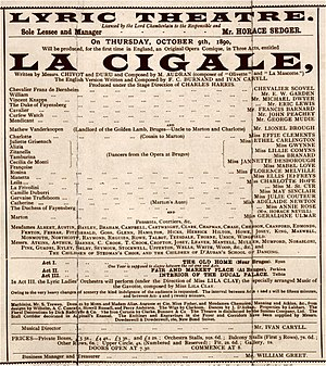 Edmond Audran - Programme for English premiere of Audran's La cigale, 1890