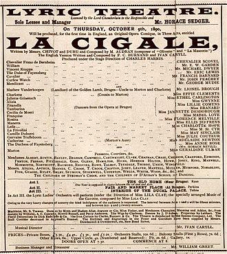 Edmond Audran - Programme for English premiere of Audran's La cigale, 1890