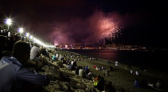 2016 Nice attack - Bastille Day celebrations on beach below Promenade des Anglais, 2014