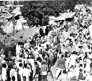 Lady Mountbatten among the Hindu evacuees at the Punjab Scouts Camp, Layallpur during partition of India